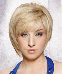 Short Straight Formal    Hairstyle with Side Swept Bangs  - Light Platinum Blonde Hair Color with  Blonde Highlights
