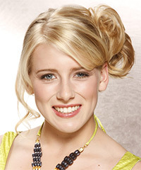 Long Curly Formal   Updo Hairstyle with Side Swept Bangs  -  Golden Blonde Hair Color with Dark Blonde Highlights