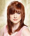 Long Straight Casual    Hairstyle with Layered Bangs  -  Copper Red Hair Color