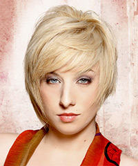 Short Straight Casual    Hairstyle with Side Swept Bangs  - Golden Hair Color