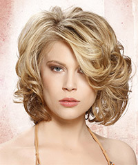 Medium Curly Formal    Hairstyle with Side Swept Bangs  -  Blonde Hair Color with Light Blonde Highlights