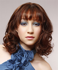 Medium Wavy Formal    Hairstyle with Layered Bangs  -  Auburn Brunette Hair Color