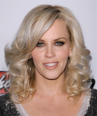 Jenny McCarthy Medium Wavy Formal    Hairstyle with Side Swept Bangs  - Light Platinum Blonde Hair Color with  Blonde Highlights