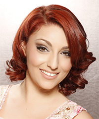 Medium Curly Formal    Hairstyle   - Dark Bright Red Hair Color