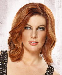 Medium Wavy Formal    Hairstyle   -  Copper Red Hair Color