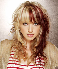 Long Wavy Casual    Hairstyle with Layered Bangs  - Light Blonde and Dark Red Two-Tone Hair Color