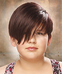 Short Straight Casual    Hairstyle with Side Swept Bangs  - Chocolate Hair Color