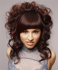Long Curly Formal  Emo Updo Hairstyle with Blunt Cut Bangs  - Dark Auburn Brunette Hair Color with Dark Red Highlights
