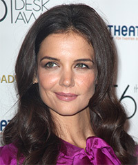 Katie Holmes Long Wavy Formal    Hairstyle   - Dark Mocha Brunette Hair Color