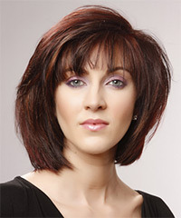 Medium Straight Casual    Hairstyle   -  Mahogany Red Hair Color