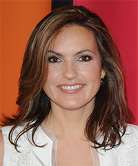 Mariska Hargitay Medium Straight Casual    Hairstyle   -  Auburn Brunette Hair Color with  Blonde Highlights