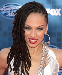 Naima Adedapo Long Curly Alternative  Emo  Hairstyle   - Dark Brunette Hair Color