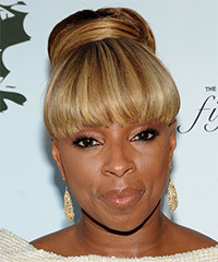 Mary J. Blige  Long Straight Formal   Updo Hairstyle with Blunt Cut Bangs  -  Golden Brunette Hair Color with Light Blonde Highlights