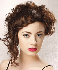 Long Curly Formal  Braided Updo Hairstyle   -  Mocha Brunette Hair Color