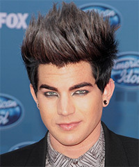 Adam Lambert Short Straight Alternative    Hairstyle   - Black  Hair Color with Purple Highlights