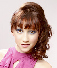 Long Curly Formal   Updo Hairstyle with Blunt Cut Bangs  - Chestnut Hair Color