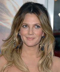 Drew Barrymore Long Wavy Casual    Hairstyle   - Dark Ash Blonde Hair Color with  Blonde Highlights