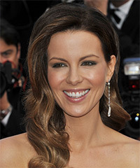 Kate Beckinsale Long Wavy Formal    Hairstyle   -  Brunette Hair Color with Light Brunette Highlights