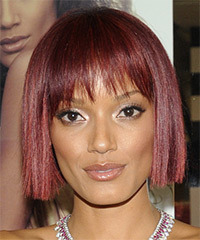Selita Ebanks Short Straight Casual  Bob  Hairstyle with Blunt Cut Bangs  - Dark Burgundy Red Hair Color