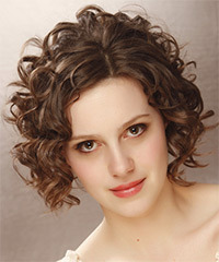 Short Curly Formal    Hairstyle   -  Brunette Hair Color