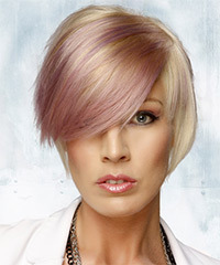 Short Straight Casual    Hairstyle with Side Swept Bangs  and Purple Two-Tone