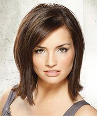 Medium Straight Casual Layered Bob  Hairstyle with Side Swept Bangs  - Dark Brunette Hair Color