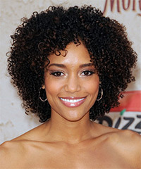 Annie Ilonzeh Short Curly Casual    Hairstyle   - Dark Brunette Hair Color