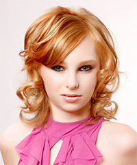 Medium Curly Formal    Hairstyle with Side Swept Bangs  - Light Ginger Red Hair Color with  Red Highlights