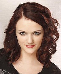Medium Curly Formal    Hairstyle   - Dark Burgundy Red Hair Color