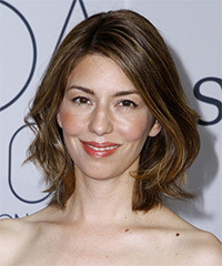 Sofia Coppola Medium Straight Casual  Bob  Hairstyle   -  Brunette Hair Color with  Blonde Highlights