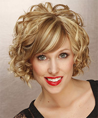 Short Curly Formal    Hairstyle   - Dark Golden Blonde Hair Color with Light Blonde Highlights