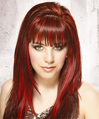 Long Straight Alternative    Hairstyle with Blunt Cut Bangs  -  Bright Red Hair Color with Light Red Highlights