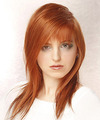 Long Straight Casual    Hairstyle with Asymmetrical Bangs  - Light Red Hair Color