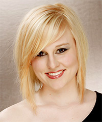 Medium Straight Formal    Hairstyle with Side Swept Bangs  - Light Honey Blonde Hair Color with Light Blonde Highlights