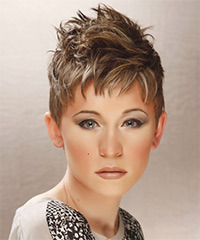 Short Straight Casual    Hairstyle   - Light Ash Brunette Hair Color with Light Blonde Highlights