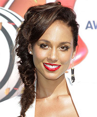 Alicia Keys  Long Curly Casual  Braided Updo Hairstyle   -  Chocolate Brunette Hair Color
