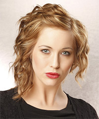 Medium Wavy Alternative    Hairstyle   - Dark Golden Blonde Hair Color with Light Blonde Highlights
