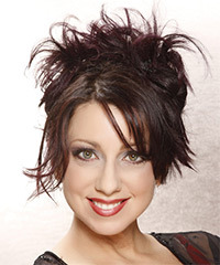 Long Straight Casual   Updo Hairstyle   - Dark Plum Brunette Hair Color
