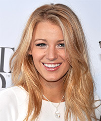 Blake Lively Long Straight Casual    Hairstyle   -  Strawberry Blonde Hair Color with Light Blonde Highlights
