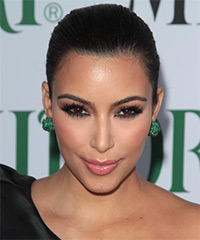 Kim Kardashian  Long Curly Formal   Updo Hairstyle   - Black  Hair Color