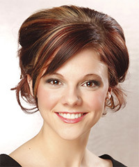 Long Curly Formal   Updo Hairstyle with Side Swept Bangs  -  Auburn Brunette Hair Color with Light Blonde Highlights
