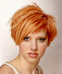 Short Straight Alternative    Hairstyle   - Orange  Hair Color