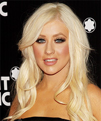 Chrisitna Aguilera Long Wavy Casual    Hairstyle   - Light Platinum Blonde Hair Color