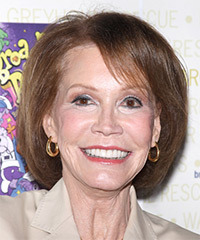 Mary Tyler Moore Medium Straight Formal Layered Bob  Hairstyle with Side Swept Bangs  -  Brunette Hair Color