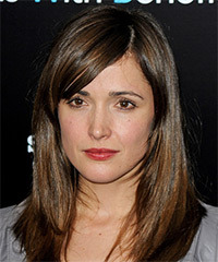 Rose Byrne Medium Straight Formal    Hairstyle with Side Swept Bangs  -  Brunette Hair Color with Light Brunette Highlights