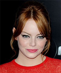 Emma Stone  Long Straight Formal   Updo Hairstyle with Layered Bangs  -  Copper Red Hair Color