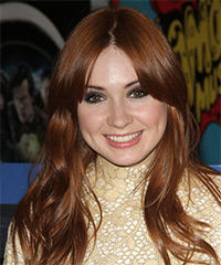 Karen Gillan Long Straight Casual    Hairstyle   - Dark Copper Red Hair Color