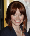 Bryce Dallas Howard  Long Straight   Dark Auburn Red  Updo  with Layered Bangs