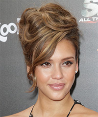 Jessica Alba  Long Curly    Brunette  Updo  with Side Swept Bangs  and Light Brunette Highlights