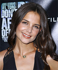Katie Holmes Long Wavy Casual    Hairstyle   - Dark Chocolate Brunette Hair Color